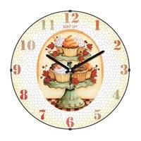 Cadran 180-4 Mutfak Bombeli Cam Duvar Saati Cupcake