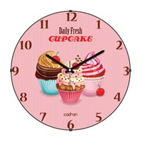 Cadran 180-8 Mutfak Bombeli Cam Duvar Saati Daily Fresh Cupcake
