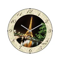 Cadran 130-2 Paris Collection Bombeli Cam Duvar Saati Eyfel Gece