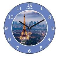 Cadran 130-3 Paris Collection Bombeli Cam Duvar Saati Eyfel Mavi