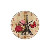 Cadran 130-7 Paris Collection Bombeli Cam Duvar Saati Eyfel Rose