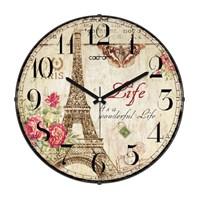 Cadran 130-9 Paris Collection Bombeli Cam Duvar Saati Eyfel Çiçekler