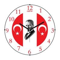 Cadran 110-3 Bombeli Cam Duvar Saati Ay Yıldız Atatürk