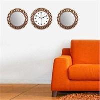 Carven Motifli 2'Li Ayna Ve Duvar Saati Kombin Altın Kahve