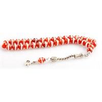 Yörem Beyaz Çizgili Kırmızı Akik Talşı 8 Mm Tesbih