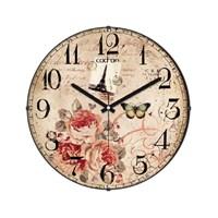 Cadran 130-10 Paris Collection Bombeli Cam Duvar Saati Çiçek Kelebek