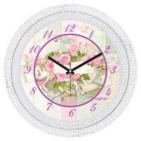 Cadran 1108-48 Dekoratif Vintage Duvar Saati Çatlak Desen Pembe Güller