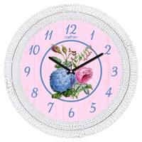 Cadran 1108-49 Dekoratif Vintage Duvar Saati Çatlak Desen Mavi Çiçek