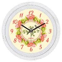 Cadran 1108-56 Dekoratif Vintage Duvar Saati Çatlak Desen Çiçek Çemberi Kuş