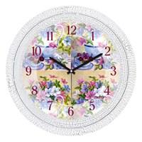 Cadran 1108-61 Dekoratif Vintage Duvar Saati Çatlak Desen Fincan Çiçek