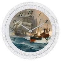 Cadran 1108-75 Dekoratif Vintage Duvar Saati Çatlak Desen Gemiler