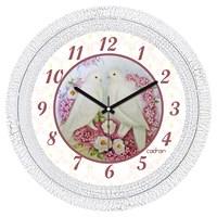 Cadran 1108-2 Dekoratif Vintage Duvar Saati Çatlak Desen Güvercinler