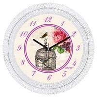 Cadran 1108-3 Dekoratif Vintage Duvar Saati Çatlak Desen Kuş Kafes