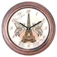 Cadran 1108-5 Dekoratif Vintage Duvar Saati Bakır Eyfel Güvercinler