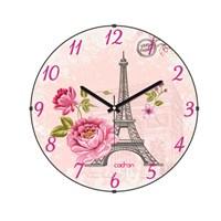 Cadran Paris Collection Bombeli Cam Duvar Saati Eyfel Çiçekler