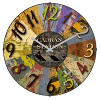 Cadran Retro Vintage Bombeli Cam Duvar Saati Metalik Dilimler-2