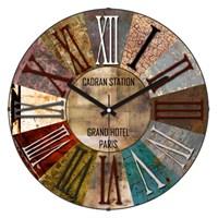 Cadran Retro Vintage Bombeli Cam Duvar Saati Metalik Dilimler-4