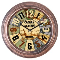 Cadran Dekoratif Vintage Bakır Duvar Saati Metalik Dilimler
