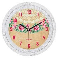 Cadran Dekoratif Vintage Çatlak Desen Duvar Saati Beyaz Motifli Güller