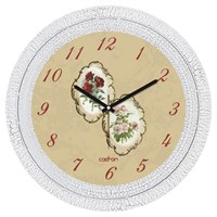 Cadran Dekoratif Vintage Çatlak Desen Duvar Saati Çiçekler Kolaj