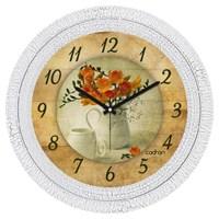 Cadran Dekoratif Vintage Çatlak Desen Duvar Saati Çiçekler Fincan