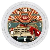 Cadran Dekoratif Vintage Çatlak Desen Duvar Saati Retro Car-1