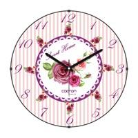 Cadran Luxury Sweet Home Bombeli Cam Duvar Saati Güller-11