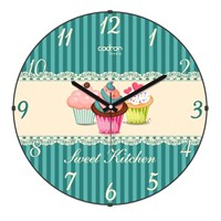 Cadran Luxury Sweet Kitchen Bombeli Cam Duvar Saati Cupcake-1