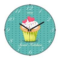 Cadran Luxury Sweet Kitchen Bombeli Cam Duvar Saati Cupcake-3