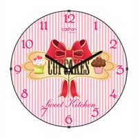 Cadran Luxury Sweet Kitchen Bombeli Cam Duvar Saati Cupcake-8