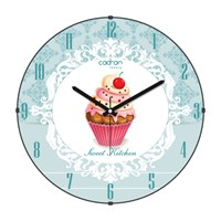 Cadran Luxury Sweet Kitchen Bombeli Cam Duvar Saati Cupcake-9
