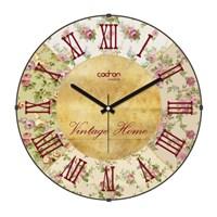 Cadran Luxury Vintage Home Bombeli Cam Duvar Saati Çiçek Kolaj
