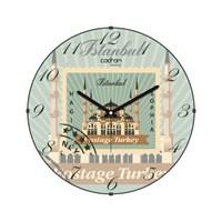 Cadran Luxury Bombeli Cam Duvar Saati Posta Pulu İstanbul