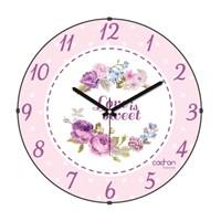 Cadran Luxury Sweet Home Bombeli Cam Duvar Saati Çiçekler-5
