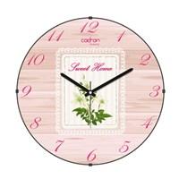 Cadran Luxury Sweet Home Bombeli Cam Duvar Saati Dantel Çiçekler