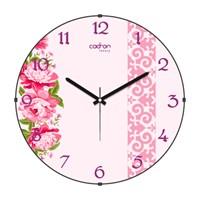 Cadran Luxury Sweet Home Bombeli Cam Duvar Saati Motifli Çiçekler-1