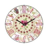 Cadran Luxury Vintage Bombeli Cam Duvar Saati Çiçek Dilimleri-3