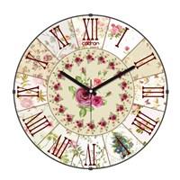 Cadran Luxury Vintage Bombeli Cam Duvar Saati Çiçek Dilimleri-4