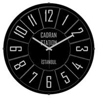 Cadran Luxury Vintage Bombeli Cam Duvar Saati Siyah