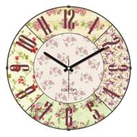 Cadran Luxury Vintage Bombeli Cam Duvar Saati Çiçek Kolaj
