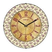 Cadran Luxury Vintage Bombeli Cam Duvar Saati Çiçekler