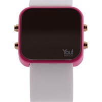 You Watch Pink White Buttons Unisex Kol Saati
