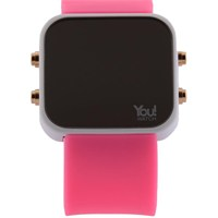 You Watch White Pink Buttons Unisex Kol Saati