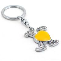 Solfera Sarı Kalp X Parlak Taşlı Metal Anahtarlık Kc581