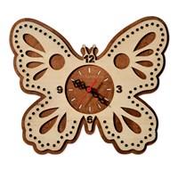Penguen Pensa Kelebek 123 Ahşap Duvar Saati