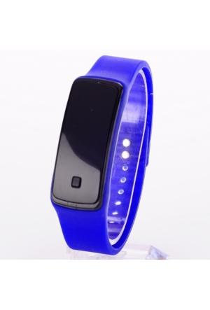 Pratik Siyah Ekranlı Led Kol Saati (Mavi)