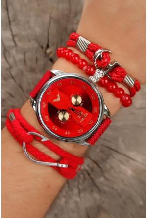 Tom Hands Kırmızı Kot Kordon Tasarımlı Gri Metal Kasa Erkek Saat Ve Bileklik Kombini