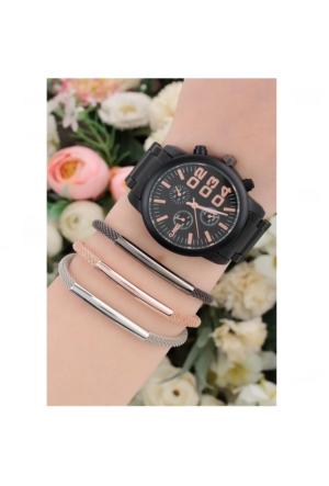 Clariss Metal Kadın Saat & Bileklik Kombin