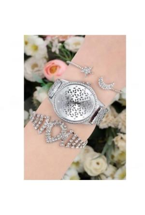 Clariss Kadın Metal Kombin Saat & Bileklik