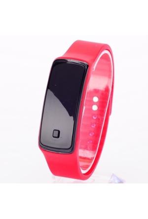 Pratik Siyah Ekranlı Led Saati (Kırmızı)